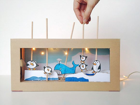 Recycle a shoebox into a DIY arctic-themed light-up theater!