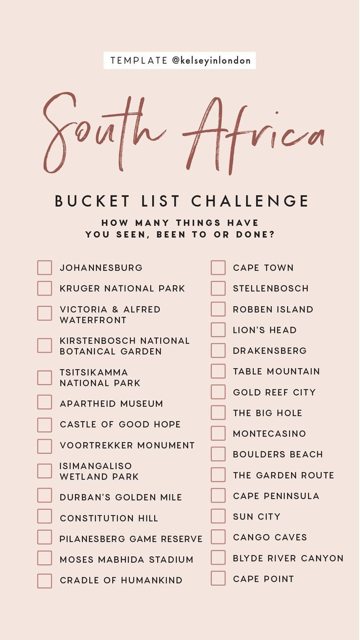 Travel Instagram Story Templates Africa Bucket List South