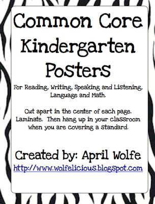 Common Core Kindergarten Posters from Wolfelicious on TeachersNotebook.com (47 pages)