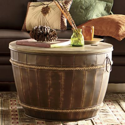 Wine barrel coffee/side table - $224. I think we could make this!
