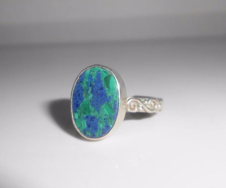 Sajen Azurite Ring Sterling Silver Size 7 #Sajen #Solitaire