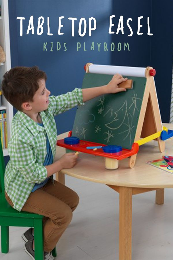 Turn any table into an art studio with the Tabletop Easel. Perfect for artists on the go, this little set folds away when craft time is done.| kids playroom ideas | playroom decor | indoor playroom | kid spaces #Ad