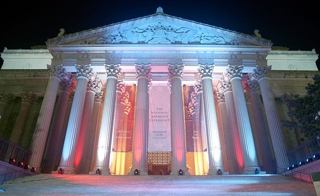 The National Archives. See the original Declaration of Independence, U.S. Constitution and Bill of Rights.