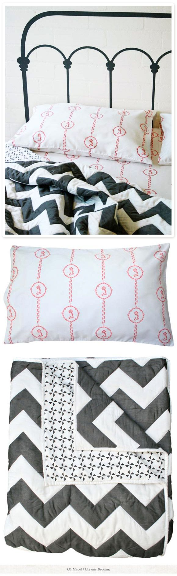 Oooh my. Love the zig zag bedspread! from OhMabel.com: Chevron Quilts, Guest Beds, Beds Spreads, Bedrooms Beds, Organizations Beds, Chevron Bedspreads, Creatures Comforters, Grey Chevron, Chevron Comforters