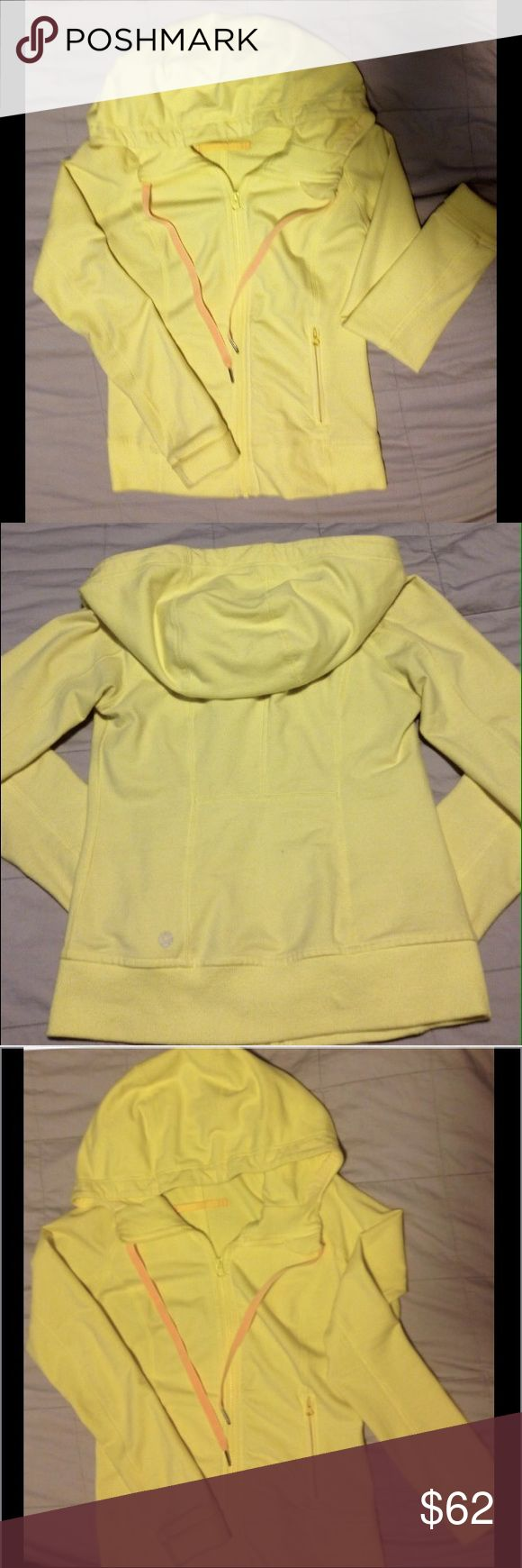 Lululemon Yellow Hoodie w/Zip Up Pockets Size 6 Lululemon Athletica Yellow Zip Up Hoodie Jacket w/Zip Up Pockets and Pull Tie Hood, Size 6 (Has Size Dot) Excellent Like New Condition, worn once. Awesome Jacket! lululemon athletica Jackets & Coats