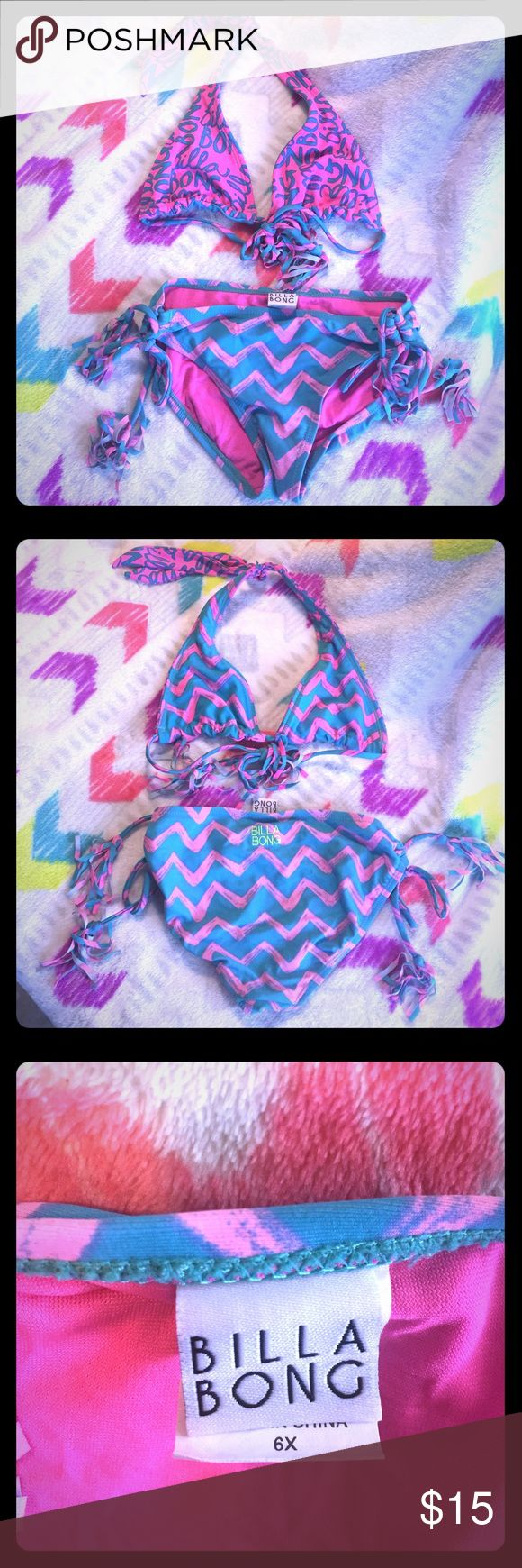 Billabong Girls Bikini Reversible top and cute tassels on ties!  Only wore a couple times, great condition! Billabong Swim Bikinis