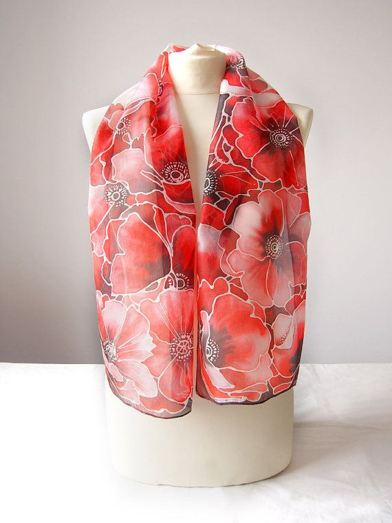 Papaveri rossi in seta sciarpa  sciarpa dipinta a mano