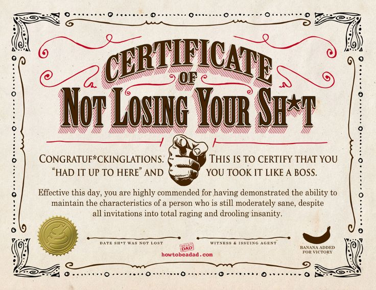 Certificate Of Not Losing Your Shit!  Certificate Sayings