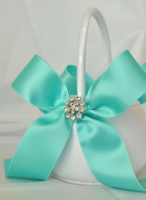 Tiffany blue basket for the flower girl