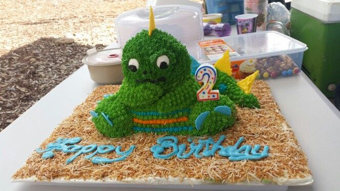 My great nephews 2nd birthday cake. Out of a 3d teddy bear cake. A dinosaure.