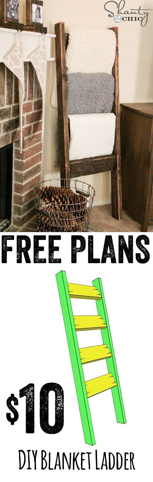 Plans for an easy and cheap blanket ladder--check out our selection of reclaimed wood to save even more!