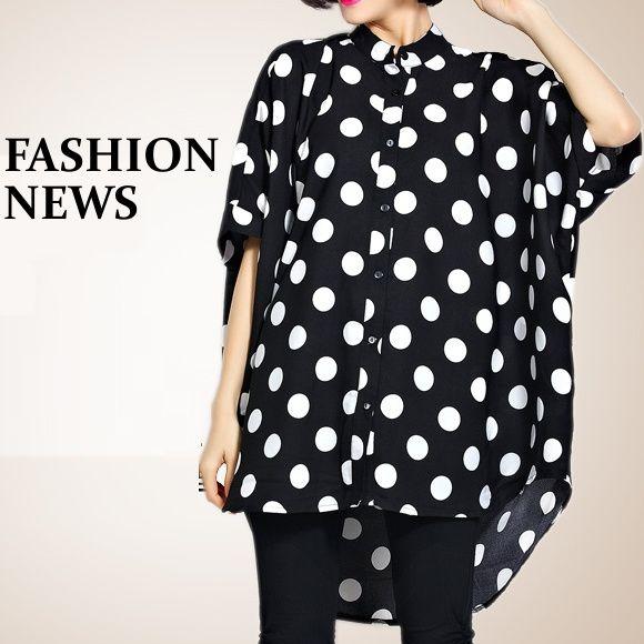 大きいサイズ 大きなドット柄 ゆるカワ ロングシャツ - 大きいサイズレディース専門店 パピヨンショップpapillonshop