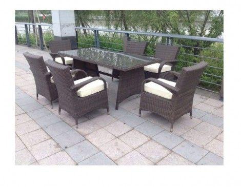 paradise 6 seater rectangle brown rattan garden furniture dining set