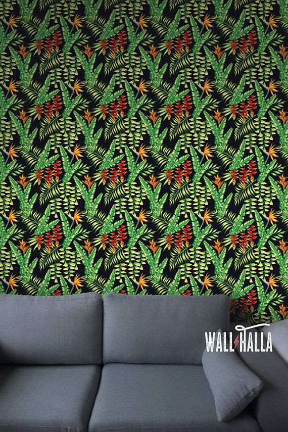 Nahtlose exotische tropische Blumen Wallpaper  von WallHalla