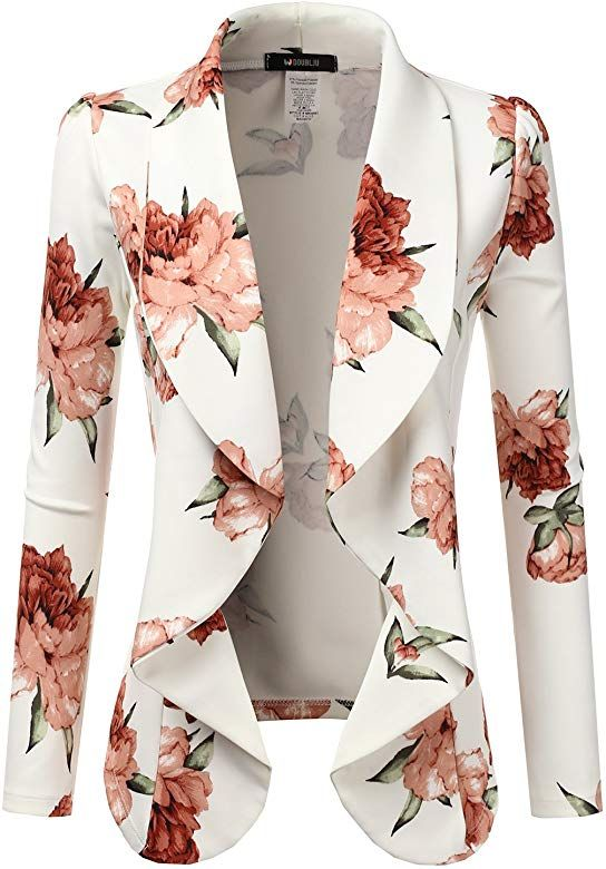 Amazon.com: Doublju Classic Draped Open Front Blazer for Women with Plus Size Iv... 9