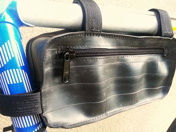 Bike Bag Frame Bag - Recycled Bicycle Tubes - Bike Gear Accessories - gift under 50 on Etsy, $38.00
