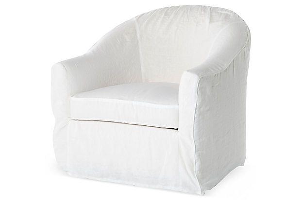 Barrel Slipcover Chair, White on OneKingsLane.com ...