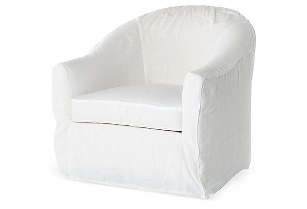 Barrel Slipcover Chair White On Onekingslane Com Things