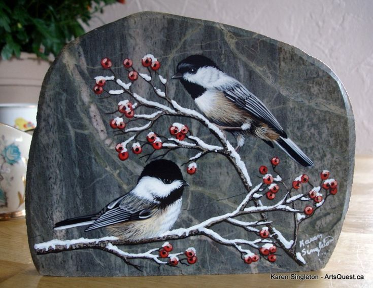 Really beautiful piece - chickadees painted on rock - the rock is so well chosen for the subject! (inspiration)  ************************************************ Karen Singleton via ArtsQuest.ca - #painted #rocks #art - t√