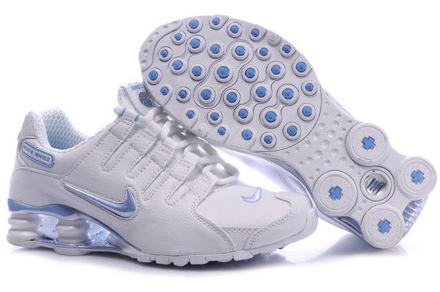 Vit Blå Nike Shox NZ Skor Kvinna 68719 Billiga
