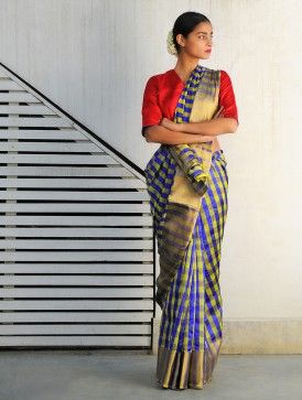 Jhilmil Blue-Lime Chanderi Handwoven Saree By Raw Mango