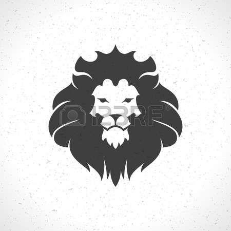 лев: Лев лицо шаблон значок эмблема для бизнеса или дизайн футболки. Урожай векторный элемент дизайна. Иллюстрация