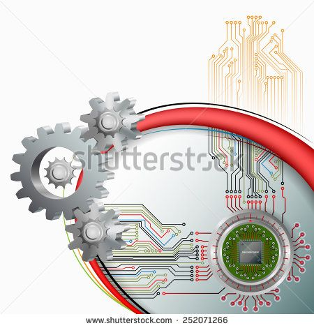 Abstract technology background;Processor Chip on circular, metallic device connected with electronic circuit  and in front cogwheels as symbol of technology. - stock photo