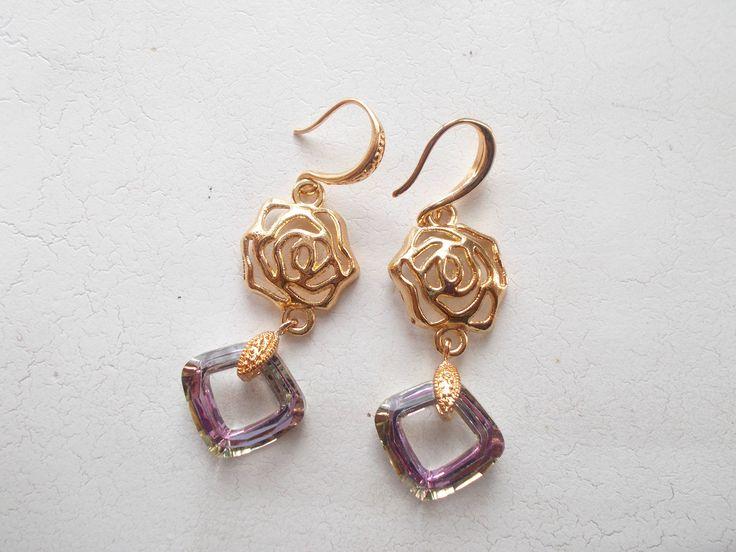Swarovski cosmic square in Light Vitrail on filigree rose dangle earrings by RicePaperJewels on Etsy