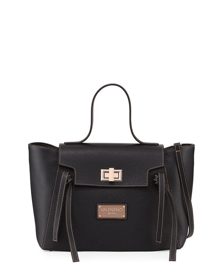 Valentino by Mario Valentino Camilla Leather Satchel Bag, Black, Women's