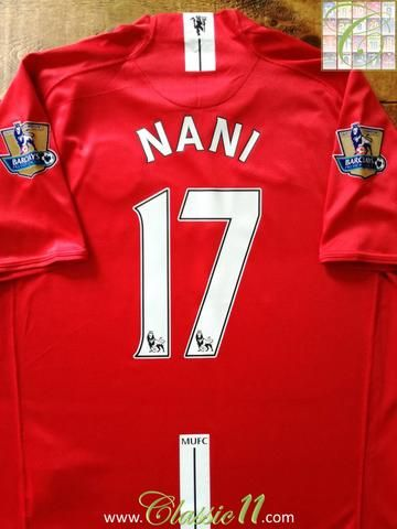 Official Nike Manchester United home football shirt from the 2007/2008 season. Complete with Nani #17 on the back of the shirt and Premier League Champions patches on the sleeves.
