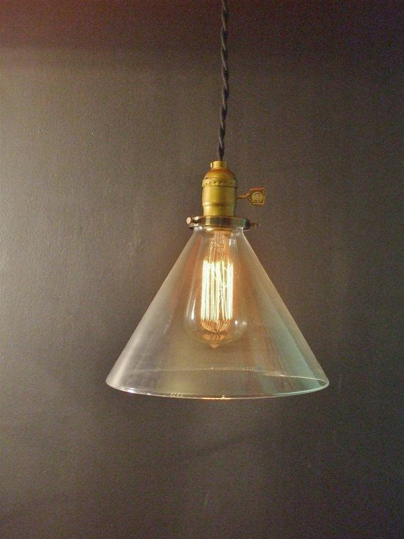 Vintage Industrial Hanging Light W/ Glass Cone By DWVintage