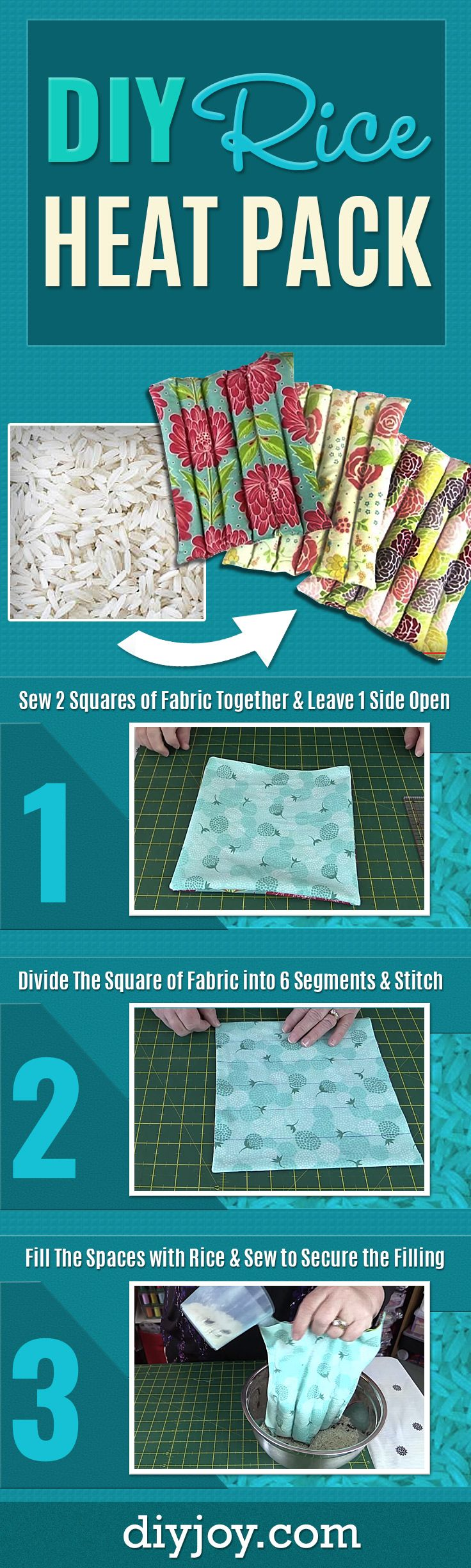 Mejores 664 imgenes de sewing ideas en pinterest proyectos de diy rice heat pack easy do it yourself heat pack tutorial made with rice solutioingenieria Gallery