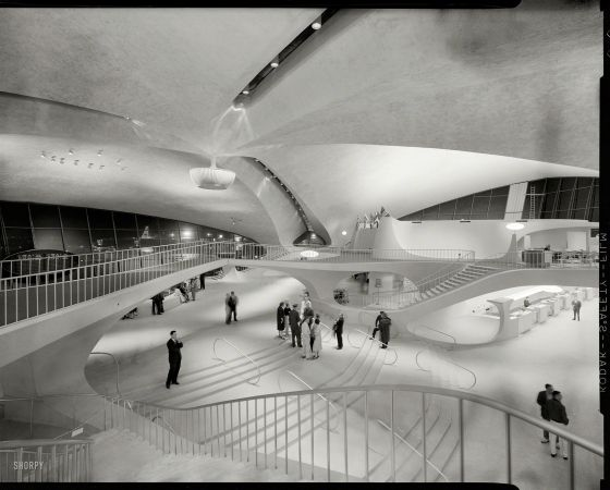 A ridiculously photogenic airport.  Built 1962. TWA terminal, Idlewild Airport, NY -- photo by Balthazar Korab