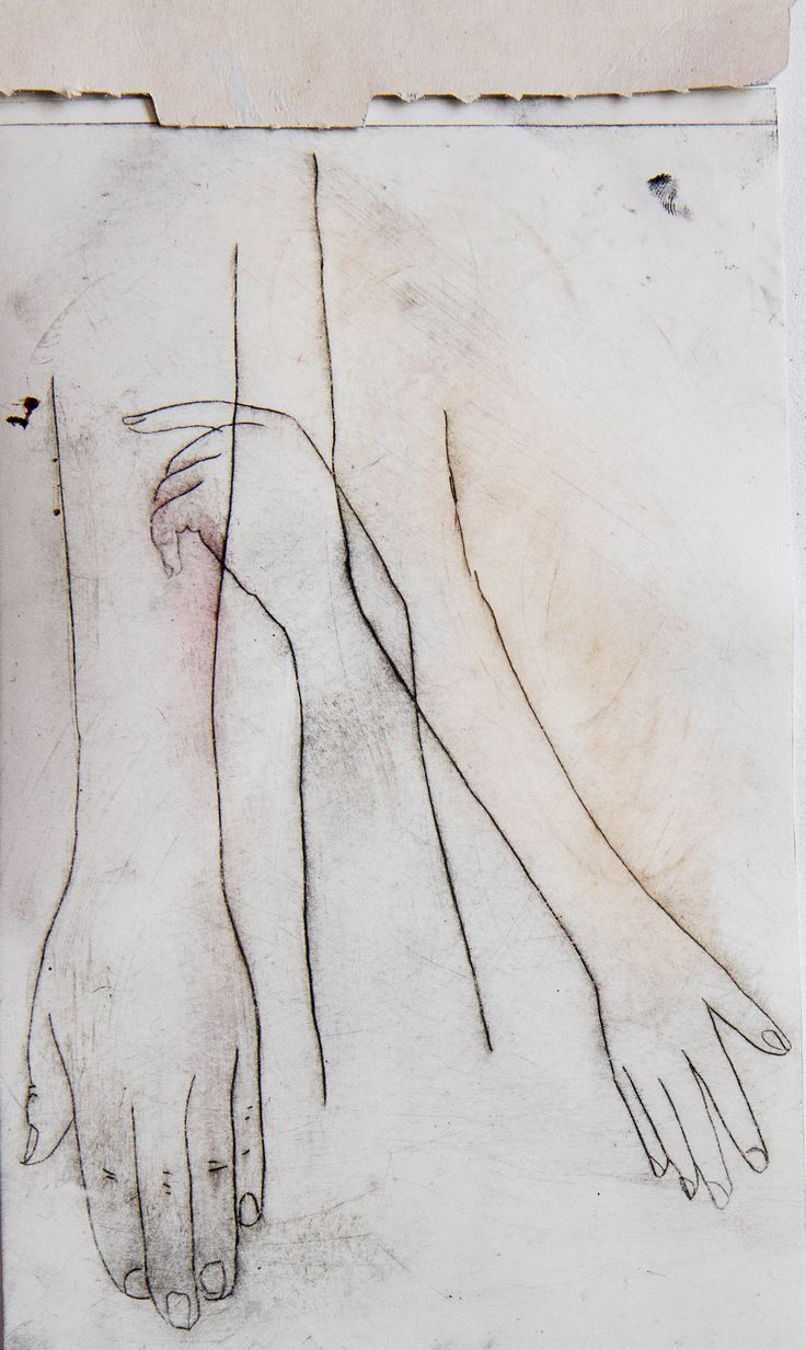Anneliese Hough (2014). Drypoint etch and monoprint.