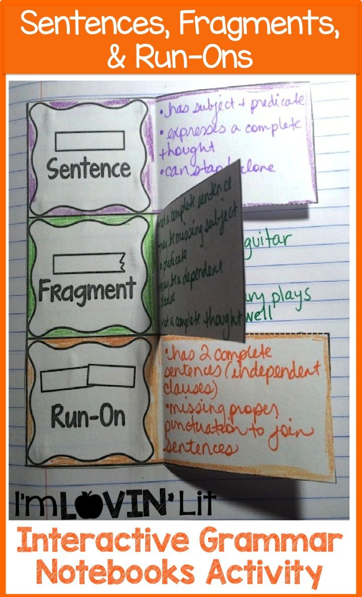 Fragments & Run-Ons Interactive Notebook Activity, Foldable, Organizer, Lesson