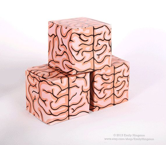 Brain Box Halloween Favor Boxes.  Printable. Zombie food.