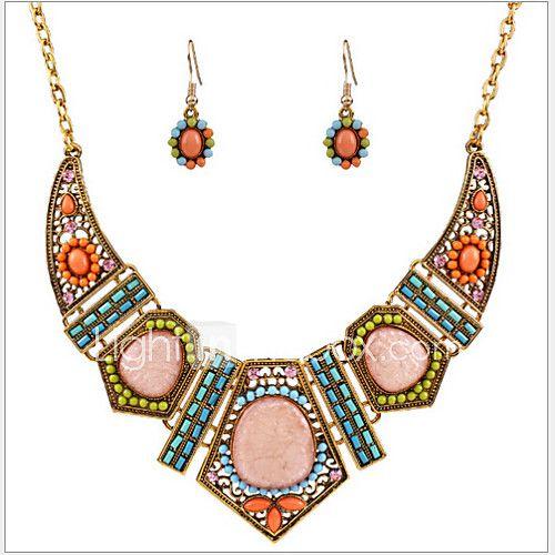 Juego de Joyas Turquesa Colorido Joyería de Lujo La imitación de diamante Turquesa Legierung Forma Geométrica Arco irisCollares 2017 - $15854