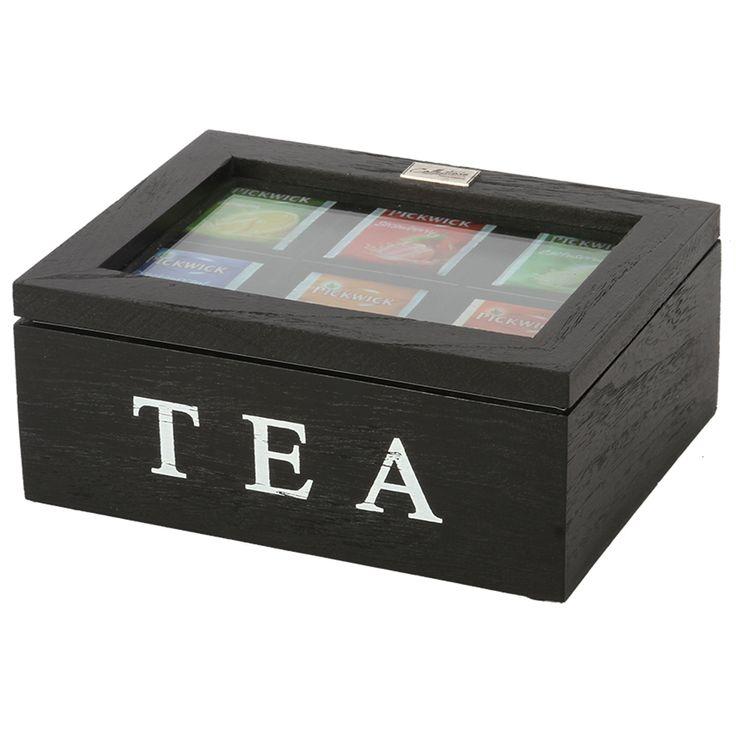 Thee doos Altavilla 6 vaks zwart. Collectione / Casa-Bella #Accessoires #Opbergen #Doosje #Box #Theedoos #Tea