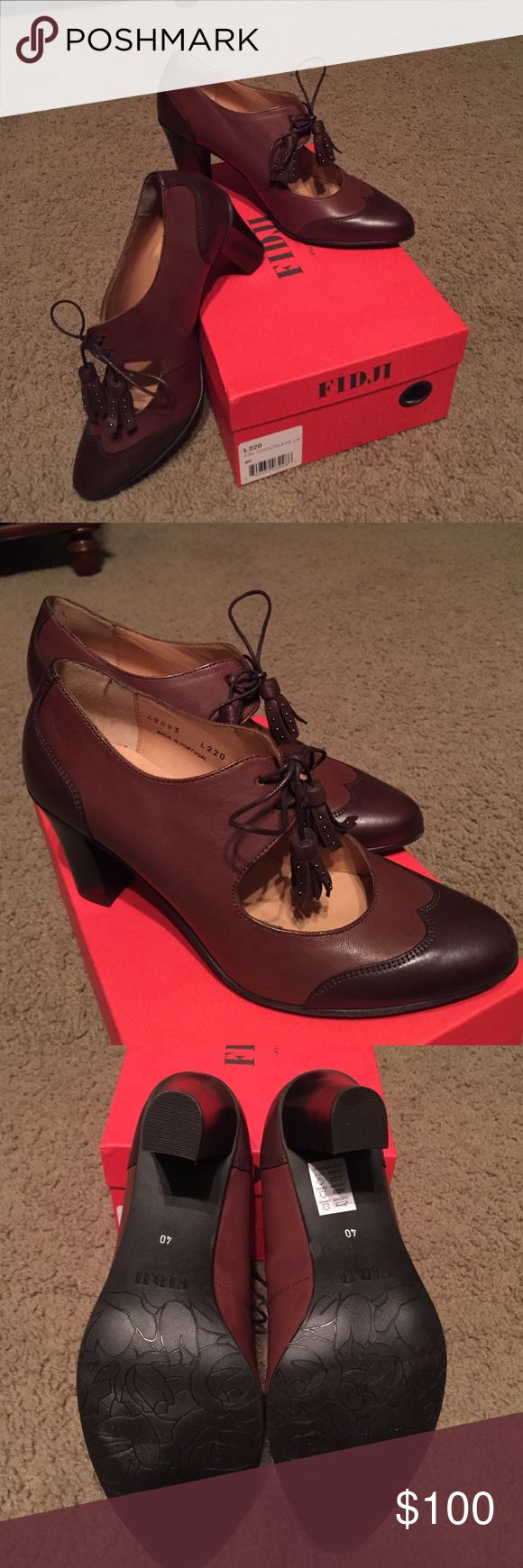 Fidji L220 Womens Two Tone Brown Heels New in box- Fidji L220 Womens Two Tone Chocolate Brown Heels with tassel ties. Made from Italian Leather. These are BEAUTIFUL- I just don't wear heels anymore. Fidji Shoes Heels