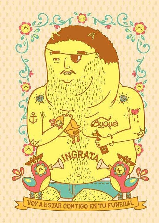 "Ilustración de ""Ingrata"" de cafe Tacuba, exposición; Seguimos siendo."