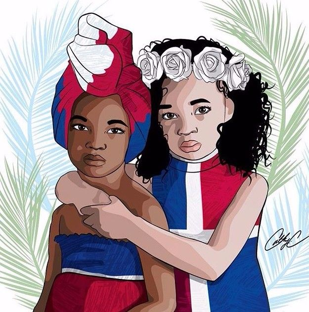 """""""Children of Hispaniola"""" ~ A digital Illustration created in response to the racial divide and turmoil caused by 2015 residency/deportation laws established in the Dominican Republic. - Cathy Charles"""