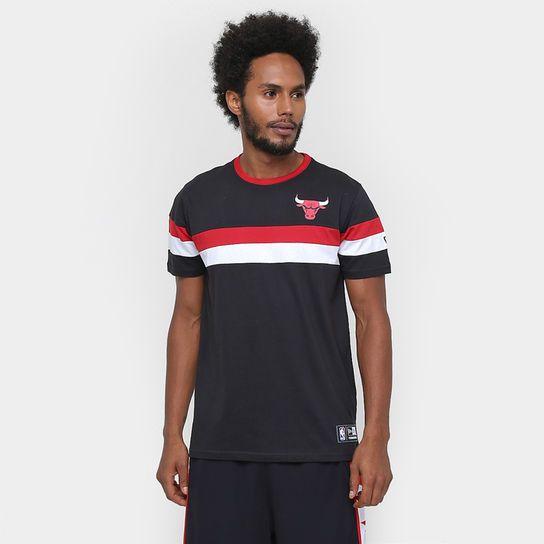 Camiseta New Era NBA Stripe Team Color Chicago Bulls - Preto ... b205a61dcfb41