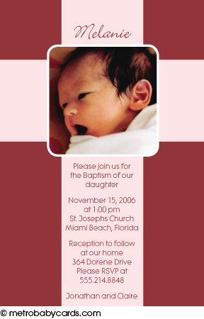 Photo Baptism/Christening Invitations :: Cross Pink Design