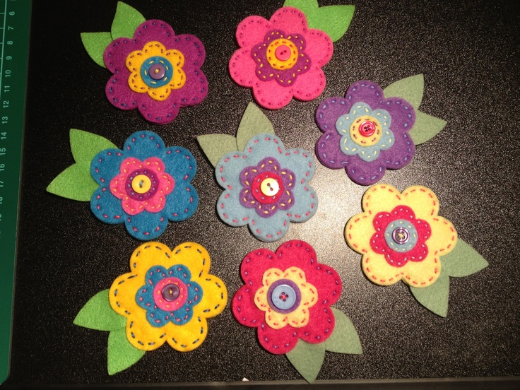 Hand made flower brooches
