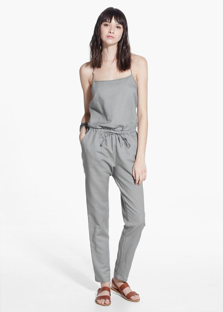 Long linen-blend jumpsuit | MANGO