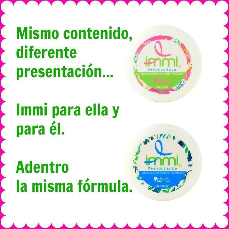 Hombres y mujeres pueden usar IMMI desodorante, su fórmula ofrece protección por 12 horas. ¿Ya conoces las dos presentaciones? http://www.verdealamexicana.com.mx/blog/