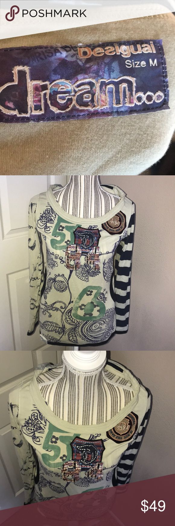 Cozy Dream Hooded Long-sleeve Super high quality. Comfortable. So much effort and time went into the detail of this beautiful long sleeve hooded top. Coziness factor is 100%. Adorable factor is 100%. bought at a cute little boutique in Encinitas, California. Gently used in great condition. Desigual Tops Sweatshirts & Hoodies