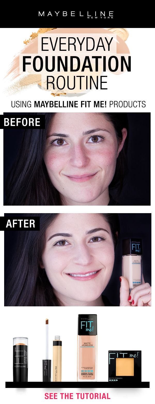 All you need for your every day foundation routine is the Fit Me! family!  Click through to see the tutorial on how to get this flawless foundation look.