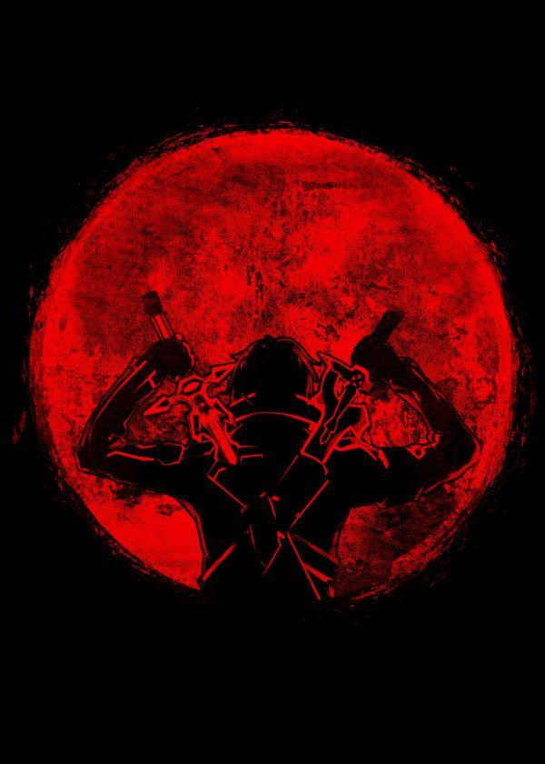 Kirito Dual Swords Poster By Fanfreak Displate Sword Art Online Wallpaper Red And Black Background Anime Wall Art Black and red anime wallpaper