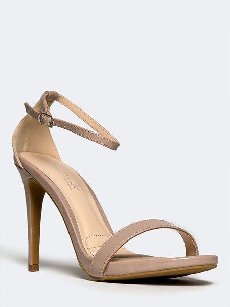 Strappy nude heels - minimalist perfection - featuring an ankle strap with a buckle closure on the side and a matching, tapered heel. - Non-skid sole and cushioned footbed. - Color- Nude Patent - Synt